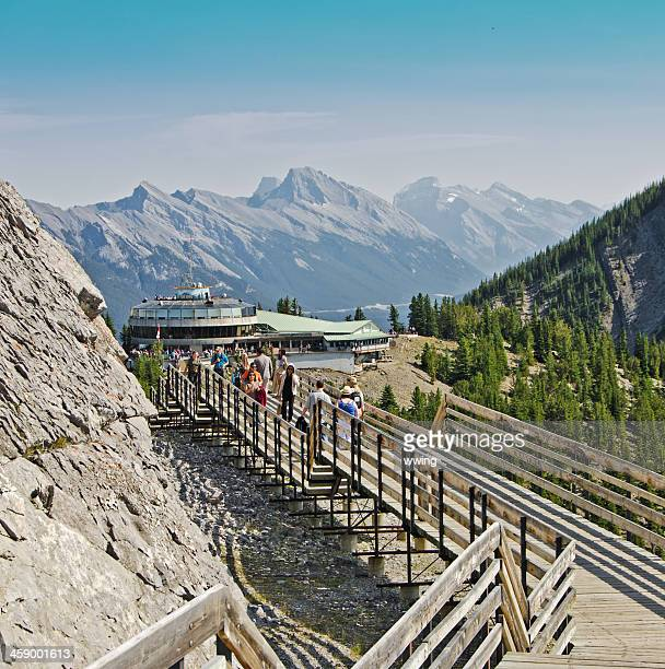 sulphur mountain gondola lookout walkway 3 - sulphur mountain stock pictures, royalty-free photos & images