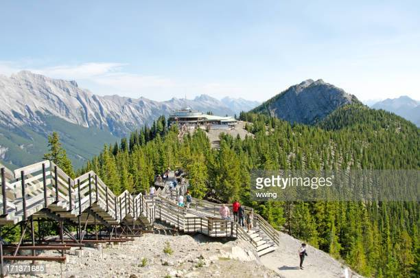 sulphur mountain gondola lookout walkway - sulphur mountain stock pictures, royalty-free photos & images