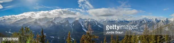 sulphur mountain pano - sulphur mountain stock pictures, royalty-free photos & images