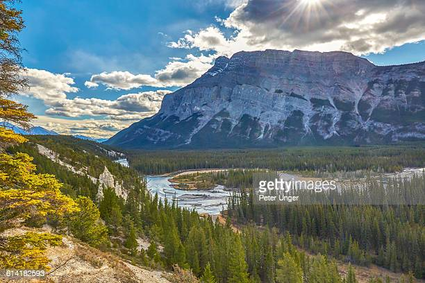sulphur mountains and bow river,banff - sulphur mountain stock pictures, royalty-free photos & images