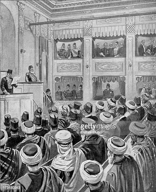 Sultan Abdul Hamid openingTurkish Parliament elected by the people 10 December 1908 From drawing by HWKoekkoek of period