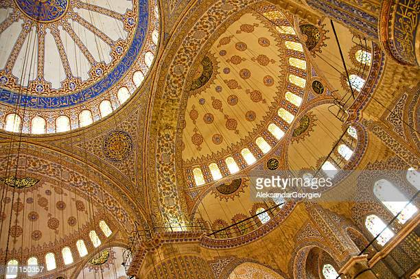 sultan ahmed - blue mosque ceiling - blue mosque stock pictures, royalty-free photos & images