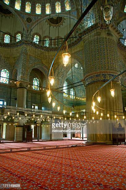 sultan ahmed - blue mosque interior - namaz stock pictures, royalty-free photos & images