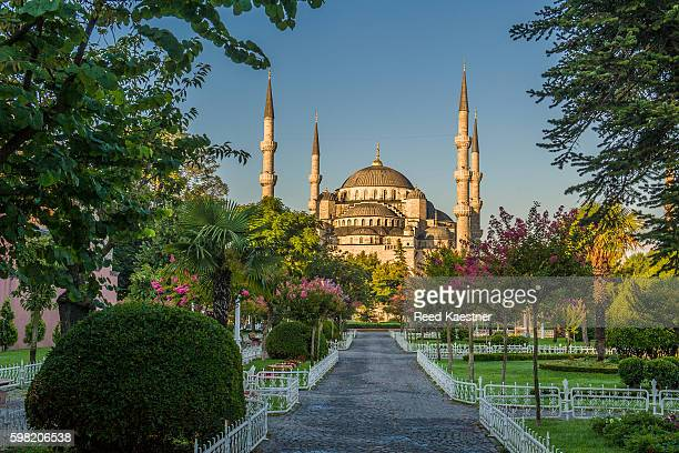 Sultan Ahmed Mosque as viewed from Sultan Ahmed park and gardens between the Hagia Sophia Mosque and the Blue Mosque