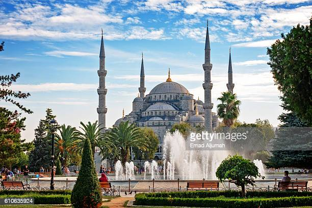 sultan ahmed mosque (blue mosque), istanbul, turkey - blue mosque stock pictures, royalty-free photos & images