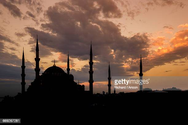 Sultan Ahmet Camii or Blue Mosque at sunset
