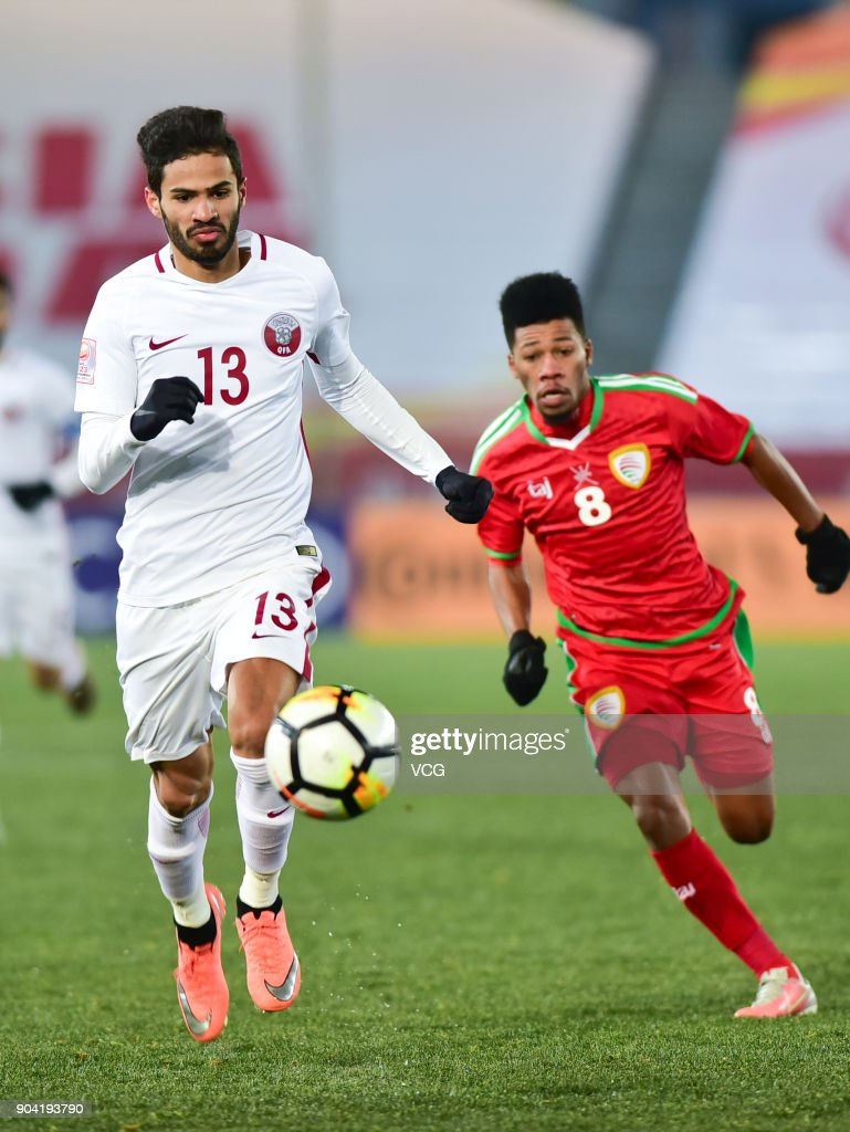Sultan Al Brake #13 of Qatar follows the ball during the AFC U-23 Championship Group A match between Oman and Qatar at Changzhou Olympic Sports Center on January 12, 2018 in Changzhou, Jiangsu Province of China.