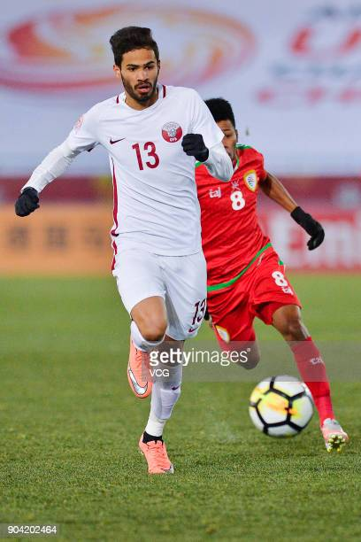 Sultan Al Brake of Qatar follows the ball during the AFC U23 Championship Group A match between Oman and Qatar at Changzhou Olympic Sports Center on...