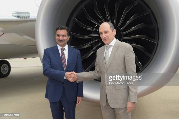 Sultan Ali Allana Director of the Aga Khan Fund for Economic Development and Akbar Al Baker CEO of Qatar airways attend the unveiling of Air Italy's...