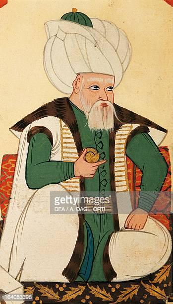 Sultan Bayazid II the Saint Sultan of the Ottoman Empire miniature from Foggie diverse et vestire de Turchi 17th century Venice Biblioteca Nazionale...