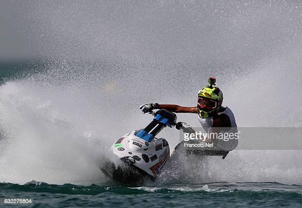 Sultan Eisa Al Hamadi of UAE race in the Ski Junior Stock during the Dubai Waterbike Championship at Jumeirah Beach on January 21 2017 in Dubai...