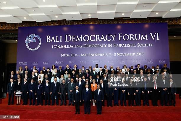 M Sultan Hassanal Bolkiah of Brunei Darussalam Indonesian President Susilo Bambang Yudhoyono Timor Leste Prime Minister Xanana Gusmao gather with...