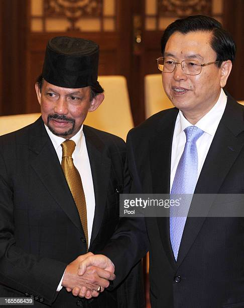 Sultan Hassanal Bolkiah of Brunei shakes hands with Chinese Chairman of the National People's Congress Zhang Dejiang at the Great Hall of the People...
