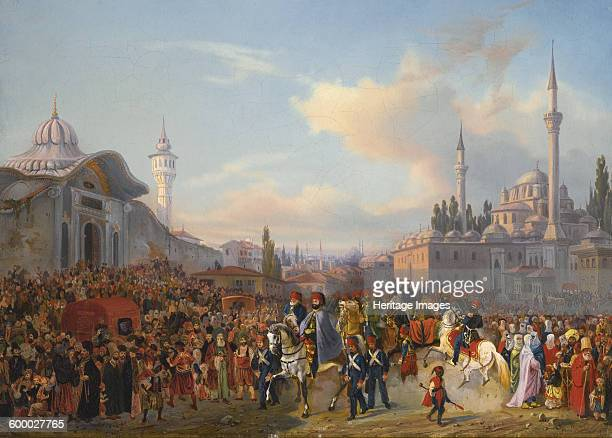 Sultan Mahmud II Leaving The Bayezid Mosque, Constantinople, 1837. Private Collection. Artist : Mayer, Auguste .