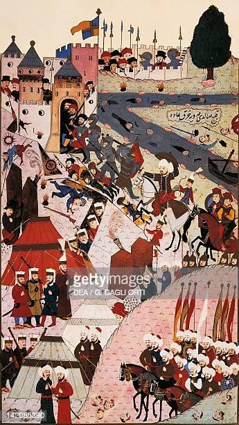 Sultan Mehmed II attacking Belgrade in 1456 Ottoman miniature Turkey 14th Century