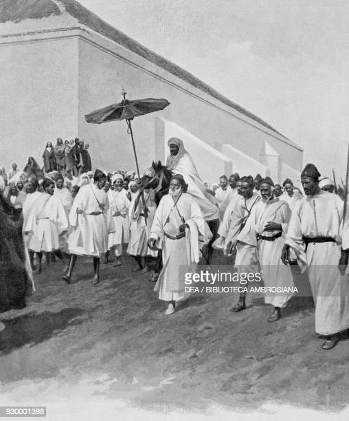 Sultan Mulai Abdelhafid's entrance into the city of Fez, Morocco, from L'Illustrazione Italiana, Year XXXV, No 38, September 20, 1908.