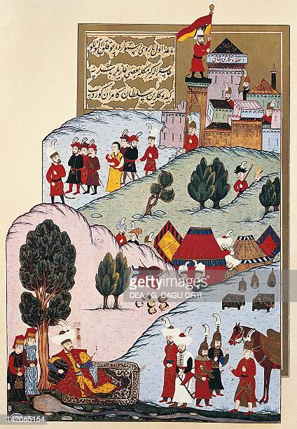 Sultan Murat invading Bulgaria and conquering Sophia Ottoman from The Hunername miniature 16th century