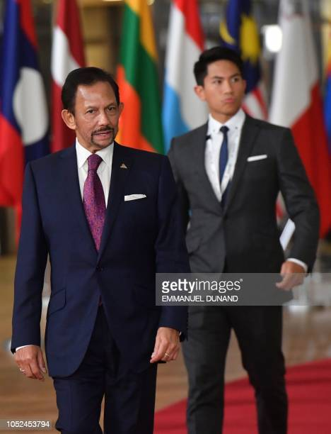 Sultan of Brunei Haji Hassanal Bolkiah is accompanied by his son Prince Abdul Mateen as he arrives for a Asia Europe Meeting at the European Council...