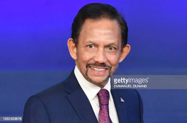Sultan of Brunei Haji Hassanal Bolkiah looks on as he arrives for a Asia Europe Meeting at the European Council in Brussels on October 18 2018