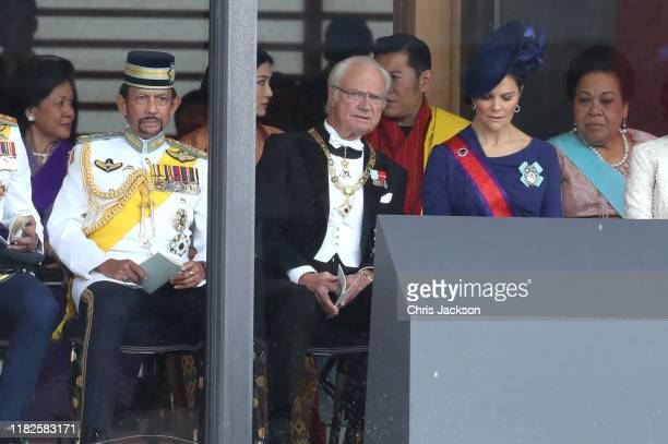 Sultan of Brunei Hassanal Bolkiah King Carl XVI Gustaf of Sweden and Crown Princess Victoria of Sweden and guests attend the Enthronement Ceremony of...