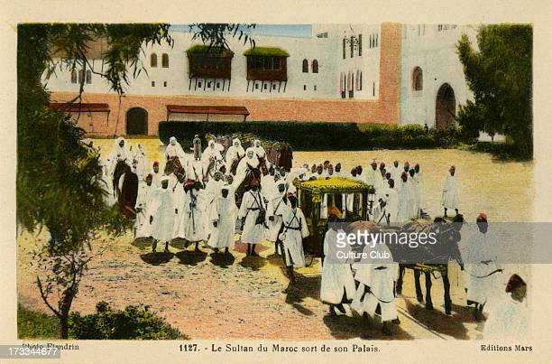 Sultan of Morocco outside his Palace Rabat Caption reads 'Le Sultan du Maroc sort de son Palais'