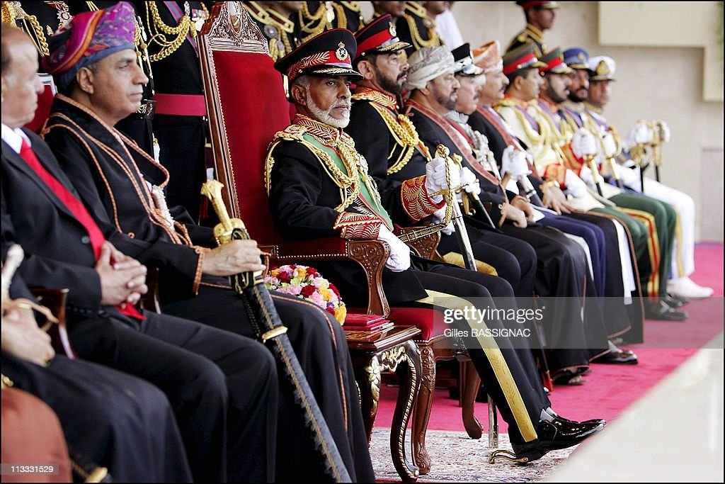 Sultan Of Oman Qaboos Bin Said Presides The Military Parade At The Al Fateh Stadium For The National Day 35Th Anniversary. On November 18Th, 2005. In Mascate (City), Oman : News Photo