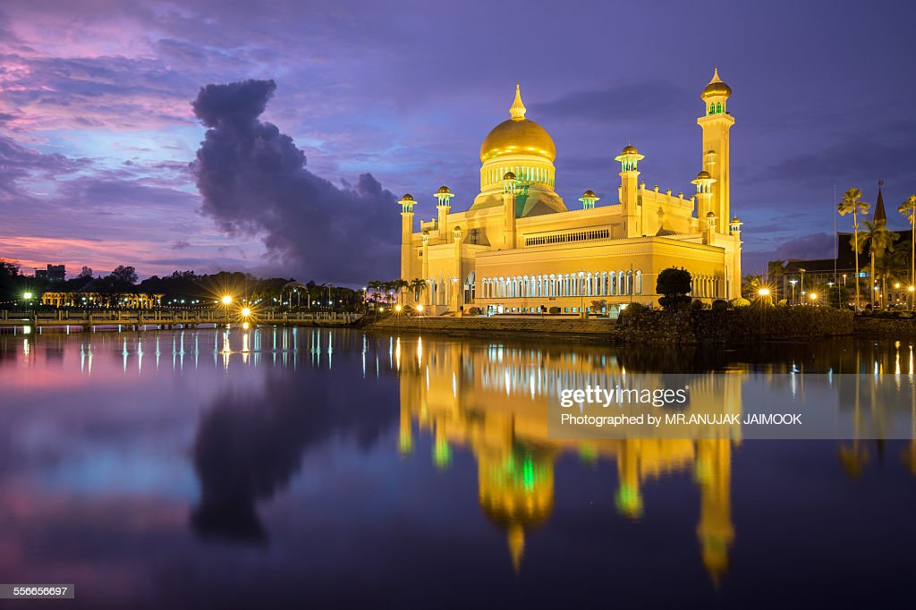 Sultan Omar Ali Saifuddien Mosque at Brunei : Stock-Foto