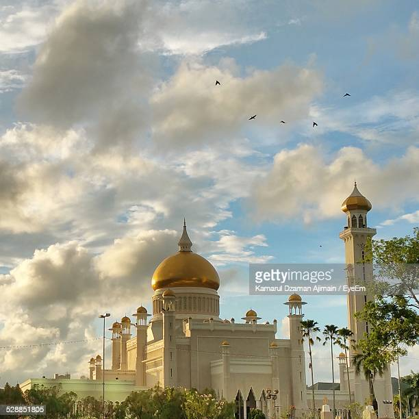 Sultan Omar Ali Saifuddin Mosque Against Cloudy Sky