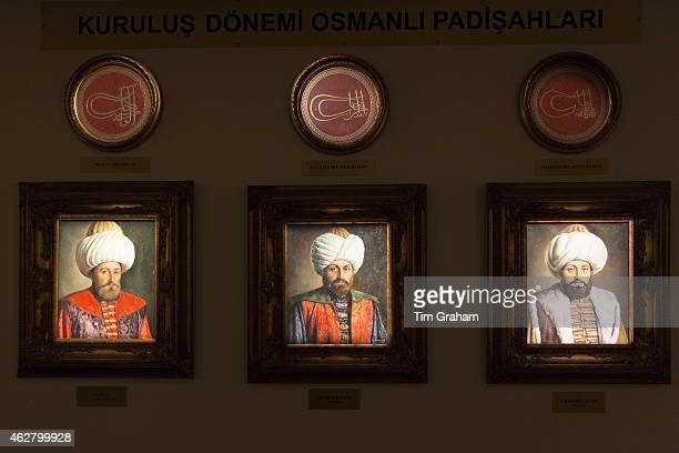 Sultan portrait paintings of the Ottoman Empire Murat Yildirim Bayezit Mehmet Celebi at Military Museum Istanbul Turkey