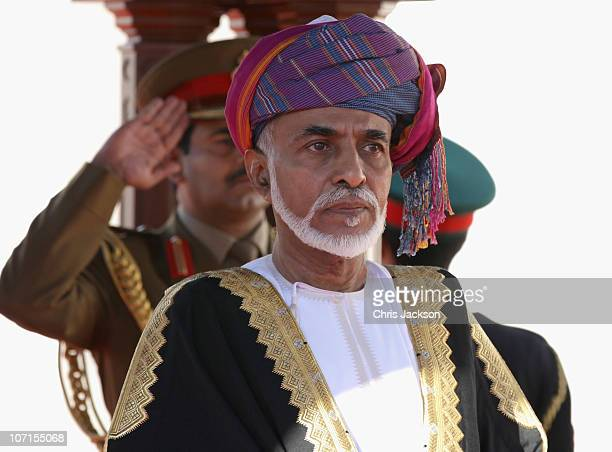 Sultan Qaboos bin takes the sapute at Al-Alam Palace on November 26, 2010 in Muscat, Oman. Queen Elizabeth II and Prince Philip, Duke of Edinburgh...