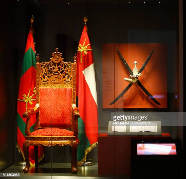 Sultan Qaboos' first throne is displayed at the National Museum of Oman in Muscat during its inauguration ceremony on December 14, 2015. AFP PHOTO /...