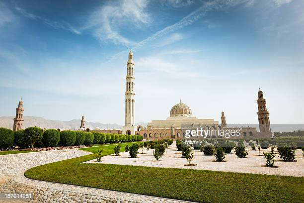 sultan qaboos grand mosque park muscat oman - qaboos bin said al said stock pictures, royalty-free photos & images