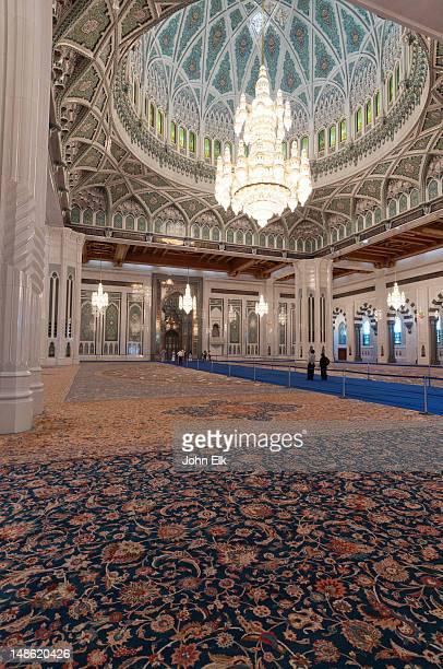 sultan qaboos grand mosque, prayer hall. - qaboos bin said al said stock pictures, royalty-free photos & images