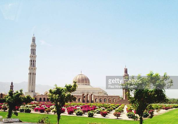 Sultan Qaboos Grand Mosque With Lawn In Foreground