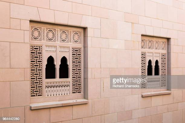 sultan qaboos mosque window, muscat, oman - sultan qaboos mosque stock pictures, royalty-free photos & images
