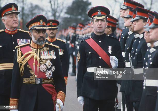 Sultan Qaboos of Oman attends the Sovereign's Parade at the Sandhurst Academy in Surrey, England on April 08, 1983.