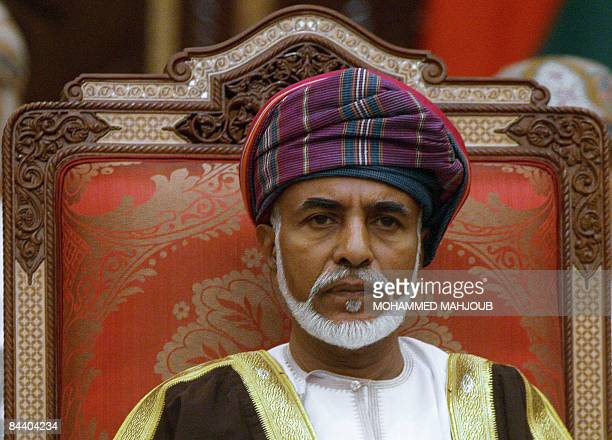 Sultan Qaboos of Oman chairs the final session of the Gulf Cooperation Council leaders' summit on December 30 2008 in Muscat Oilrich Gulf monarchies...