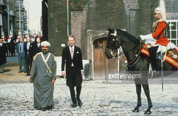 Sultan Qaboos of Oman during a state visit to England in March 1982