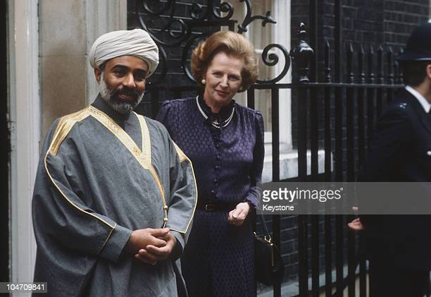 Sultan Qaboos of Oman meets British Prime Minister Margaret Thatcher at 10 Downing Street in London during a state visit to England in March 1982