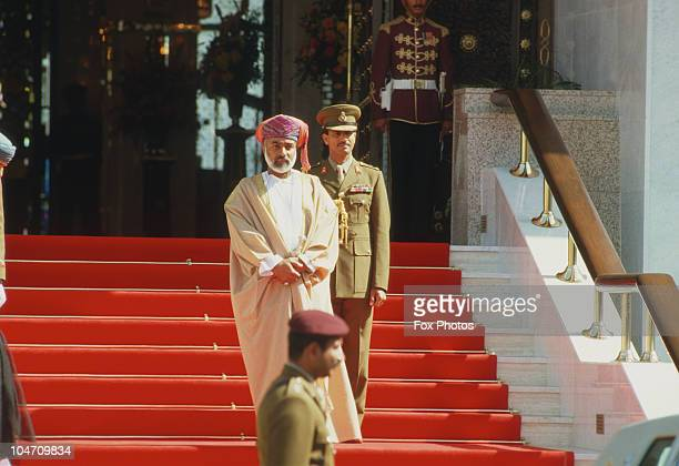Sultan Qaboos of Oman on the steps of the Al Alam Palace in Muscat in November 1986.