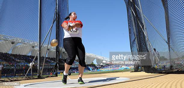 Sultana Frizell from Canada performs in the women's Hammer Throw during the Guadalajara 2011 XVI Pan American Games in Guadalajara Mexico on October...