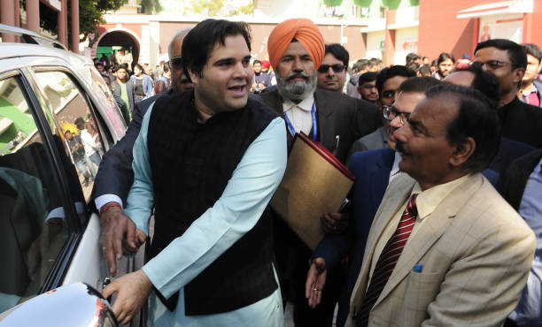 Sultanpur MP Varun Gandhi after a one day National Seminar on `Media Society and Culture Interrelations and Emerging Trends` at DAV College sector 10.