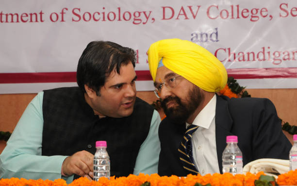 Sultanpur MP Varun Gandhi and Punjab AAP MP Kanwar Sandhu during a one day National Seminar on 'Media Society and Culture Interrelations and Emerg