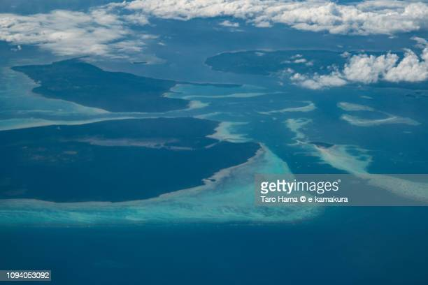 Sulu Sea, Bugsuk Island and Dalahican Island in Province of Palawan in Philippines daytime aerial view from airplane