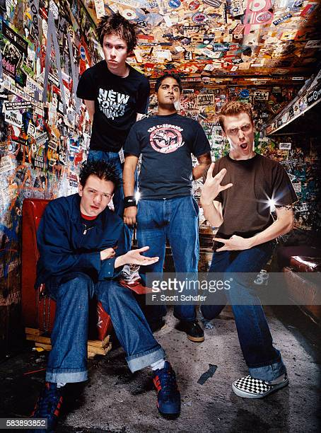 Sum 41 are photographed for Request Magazine in 2002 in CBGB in New York City