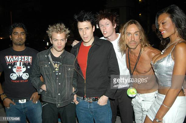 Sum 41 Iggy Pop and guest during MTV Video Music Awards Latin America 2003 Red Carpet at Jackie Gleason Theater in Miami Beach Florida United States