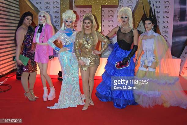 Sum Ting Wong, Scaredy Kat, Blu Hydrangea, Cheryl Hole, Crystal and Gothy Kendoll attend the National Television Awards 2020 at The O2 Arena on...