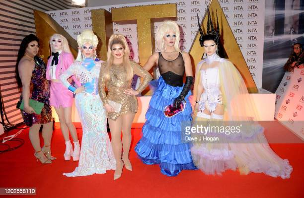 Sum Ting Wong, Scaredy Kat, Blu Hydrangea, Cheryl Hole, Crystal and Gothy Kendoll of RuPaul's Drag Race attend the National Television Awards 2020 at...