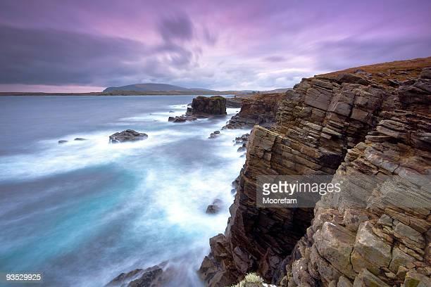sumburgh shetlands dopo il tramonto - isole shetland foto e immagini stock