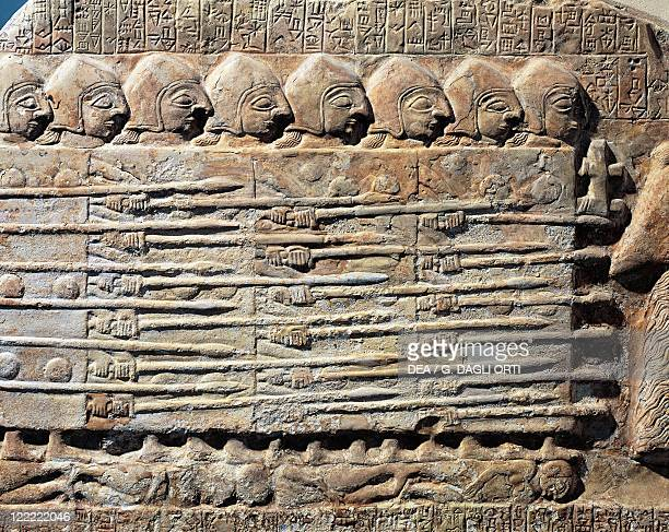 Sumerian civilization 25th century bC Stele of the Vultures circa 2450 bC Chalk plaque portraying Eannatum sovereign troops in the conquest of Umma...